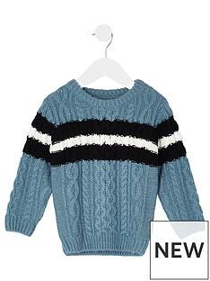 river-island-mini-boys-blue-cable-knit-stripe-jumper
