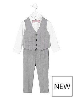 river-island-mini-mini-boys-grey-check-four-piece-suit-set