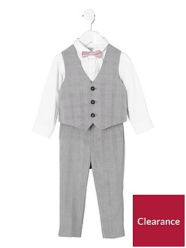 river-island-mini-mini-boys-grey-check-four-piece-suit-set