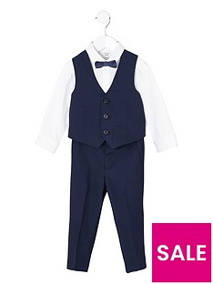 river-island-mini-mini-boys-navy-shirt-and-trousers-suit-set