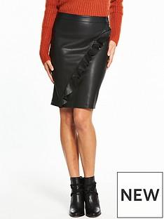 vila-pen-ruffle-pu-skirt