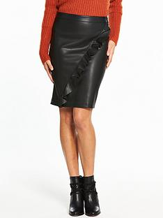 vila-ruffled-leather-look-pencil-skirt