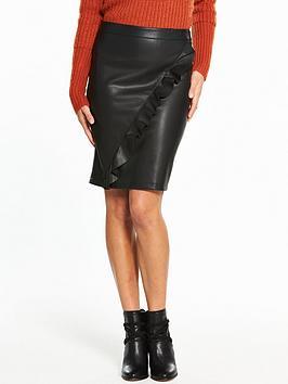 Vila Ruffled Leather-Look Pencil Skirt