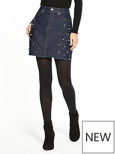 v-by-very-pearl-detail-skirt-dark-wash