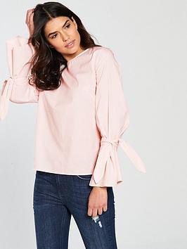 Vila Jenner Long Sleeve Bow Top - Pink