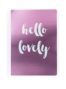 go-stationery-hello-lovely-pinkmetallic-a5-notebook