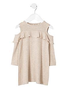 river-island-mini-girls-beige-knit-cold-shoulder-dress