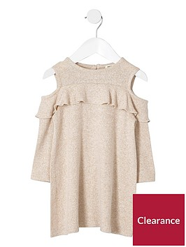 river-island-mini-girls-beige-knit-cold-shoulder-dress