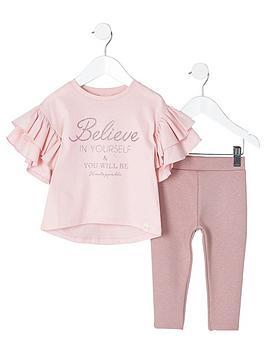 river-island-mini-girls-pink-lsquobelieversquo-glitter-top-outfit