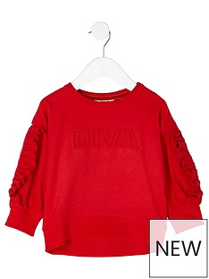 river-island-mini-girls-red-lsquodivarsquo-embossed-sweatshirt
