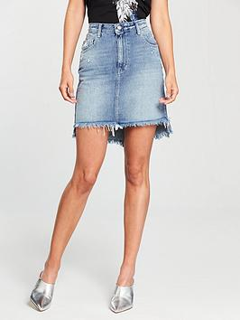Replay Frayed And Distressed Denim Skirt