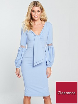 v-by-very-tie-front-volume-sleeve-dress