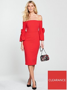 v-by-very-volume-sleeve-bardot-pencil-dress-with-bow-cuffs-red