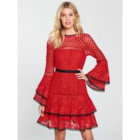 Lace Tiered Flippy Dress   Red by V By Very