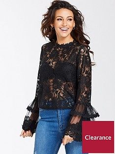 michelle-keegan-fluted-sleeve-mesh-and-lace-blouse