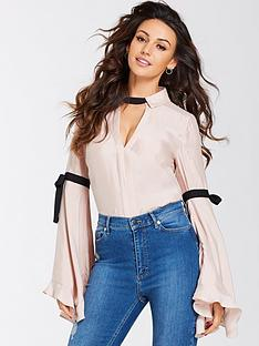 michelle-keegan-fluted-sleeve-contrastnbsptie-blouse