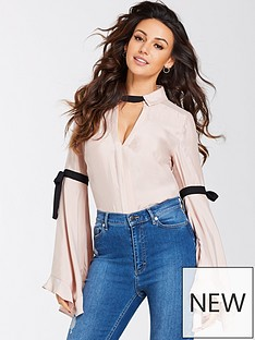 michelle-keegan-fluted-sleeve-contrastnbsptie-blouse