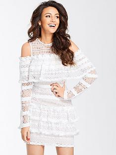 michelle-keegan-ruffle-lace-cold-shoulder-dress