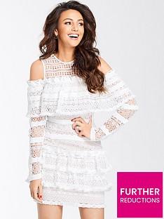 michelle-keegan-ruffle-lace-cold-shoulder-dress