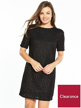 oasis-spot-foil-popcorn-dress-black