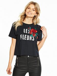miss-selfridge-petite-la-fleurs-slogan-tee