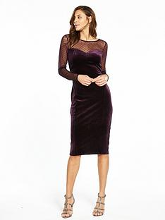 oasis-spot-mesh-velvet-midi-dress-purple