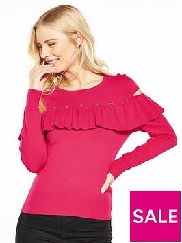 karen-millen-ruffle-sleeve-knitted-jumper