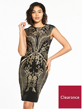 karen-millen-oriental-embroidered-dress-blackgoldnbsp