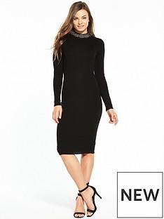 oasis-embellished-neck-knitted-dress-black