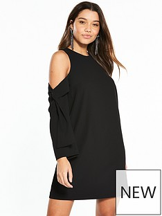 river-island-river-island-cold-shoulder-swing-dress--black