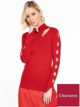 river-island-cut-out-bodyfit-jumper--red