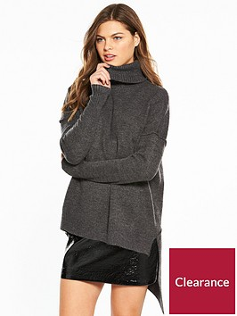 river-island-river-island-roll-neck-asymetric-jumper--charcoal