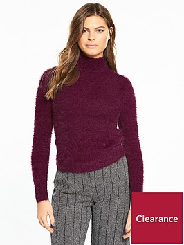 river-island-river-island-fluffy-high-neck-jumper--berry