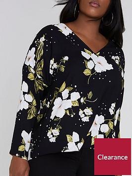 ri-plus-floral-lace-up-top--black
