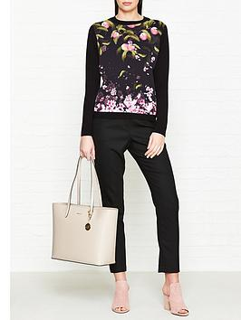 ted-baker-anthya-peach-blossom-woven-front-jumper-black