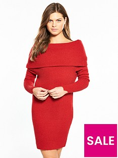 river-island-bardot-dress--red