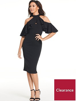 michelle-keegan-frill-bodycon-midi-dress-black
