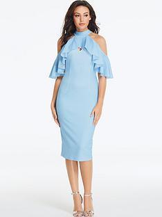 michelle-keegan-frill-bodycon-midi-dress