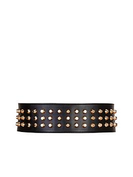 Forever Unique Gold Studded Leather Belt