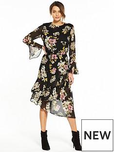 v-by-very-printednbspfrill-midi-dress-black