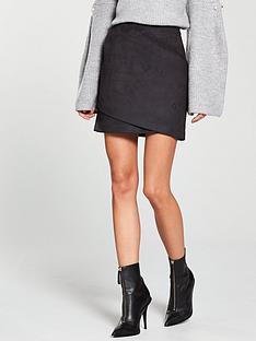 river-island-mini-suedette-skirt--black