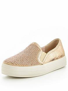 skechers-double-up-shiny-dancer-plimsoll-rose-gold