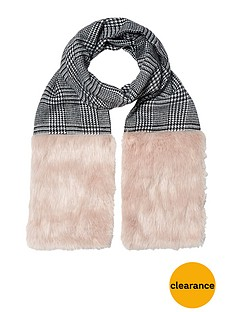 river-island-check-faux-fur-trim-scarf