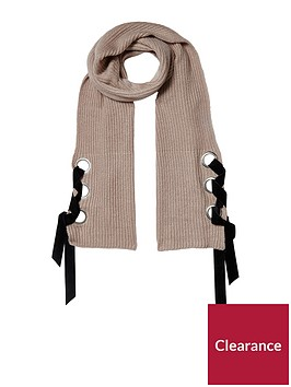 river-island-river-island-oatmeal-eyelet-fisherman-knit-scarf