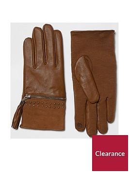 river-island-tan-zip-tassle-glove