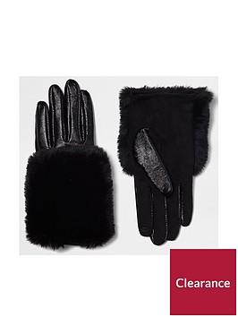 river-island-black-faux-trim-glove