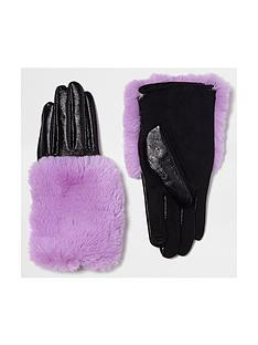 river-island-purple-fur-trim-glove