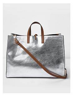 river-island-silver-beach-bag