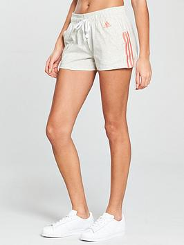 adidas-essentials-3-stripe-shorts-light-grey-heather