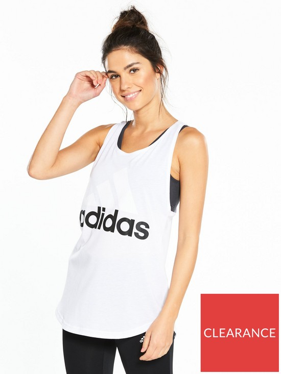 fc58735c adidas Essentials Linear Loose Tank - White | very.co.uk